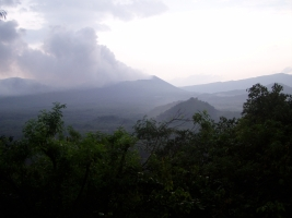 View from the top of the forest reserve to the main volcano in the morning mist